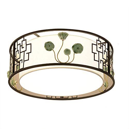 XFZ * creatieve plafondlamp, modern, Chinees, E27, montage van smeedijzer, stof, keramiek, decoratie, plafondlamp voor de hal van de kamer, veranda, rond, 50 x 22 cm