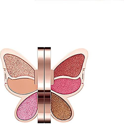 XFSSFWB Paleta de Sombras de Ojos de Mariposas, Paleta de Maquillaje de Ojos de Metal Brillante Mate, Impermeable Natural y de Larga duración, portátil para Viajes de Mujeres. (Color : Rose)