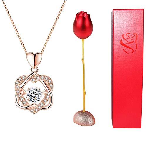 spier Caja de joyería con diseño de rosas y flores de rosas con collar de circonita cúbica, caja de almacenamiento para anillos y pendientes