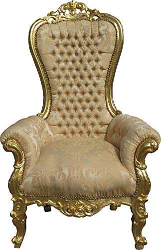 Casa Padrino Baroque Throne Armchair Majestic Medium Cream Gold Pattern/Gold Mod2 with Bling Bling Rhinestones - Giant Armchair - Throne Chair Tron