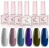 Esmaltes Semipermanentes, NEEKO 6 Colores Pintauñas Semipermanente, Remoje el Esmalte de uñas en Gel UV LED para Salón de uñas,Azul, Gris Elegante