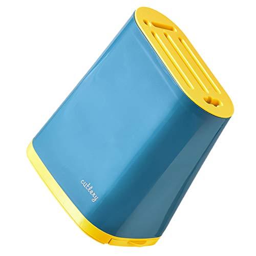 DOITOOL Juego de cortador de cocina para cuchillos, organizador de varilla, soporte de almacenamiento para tijeras, pelador, afilador, amarillo y azul