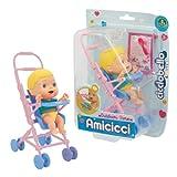 Cicciobello Amicicci - Cochecito con Personaje, Kit de Comida y pañal para niñas a Partir de 3 años, CC018000, Giochi Preziosi