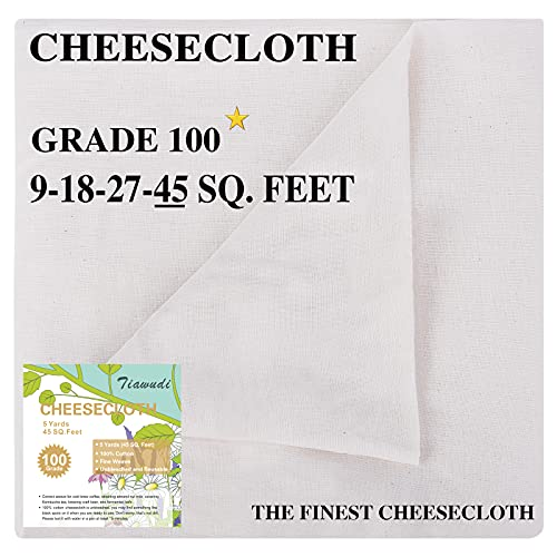 Cheesecloth, Grade 100, 45 Square Feet, 100% Unbleached Pure Cotton Cheesecloth for Straining, Filtering and Roasting, Ultra Fine and Dense Muslin Cloths, Hallowmas