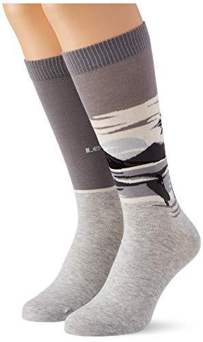 Levi's Surf Scenic Regular Cut Socks (2 Pack) Calcetines, gris claro, 39-42 Unisex Adulto