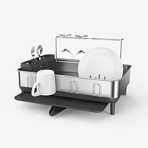 simplehuman Steel Frame Kitchen Drying Swivel Spout, Fingerprint-Proof Dish Rack, Grey Plastic