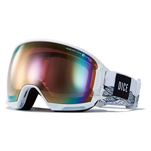 DICE(ダイス) スキー スノーボード ゴーグル ミラー 偏光レンズ 撥水加工 プレミアムアンチフォグくもり止め メガネ対応 HIGHROLLER HR91361W HIGHROLLER-pM/PIPPd-PAF ホワイト/パステルピンクミラー×偏光ピン