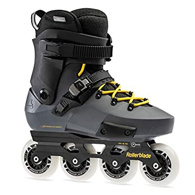 Rollerblade Twister Edge Men's Adult Fitness Inline Skate, Anthracite and Yellow, High Performance Inline Skates