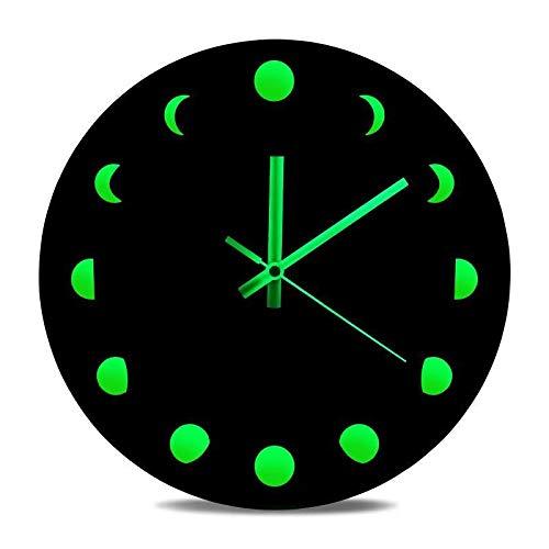 MAXROCK Leuchtende Mondphasen-Wanduhr, 30,5 cm, geräuschlos, aus Holz, mit schwarzem Zifferblatt, Mondphasen-Wandbehang, moderne Uhr für Küche, Büro, Schlafzimmer, batteriebetrieben