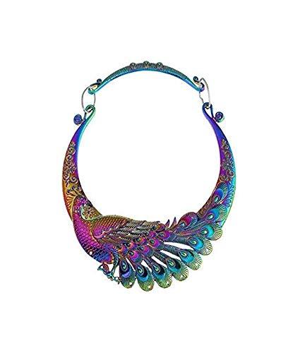 Gwill Gargantilla Mujer, Tallada étnicamente, Colorida, Gruesa, Collar Indio, joyería exagerada