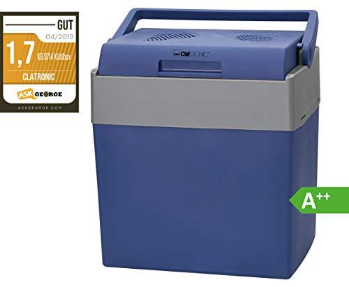 Clatronic Kühlbox KB 3714 ECO Save Ideal für Camping, Reise und Einkauf, 12- bzw. 230 Volt-Anschlusskabel auch zum Warmhalten geeignet, ca. 30 L, blau-grau