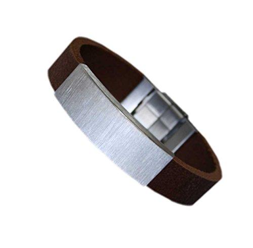 Tinasfunshop Lederarmband XXL Gravurplatte 45 x 16 mm Büffel Leder Herren Armband Querbürstung, 27 cm