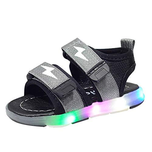 riou Unisex Niños Sandalias Verano relámpago LED luz Deportes Playa Zapatos Sandalias Ligero y cómodo Linda de Dibujos Animados Playa Sandalias Velcro 21-30