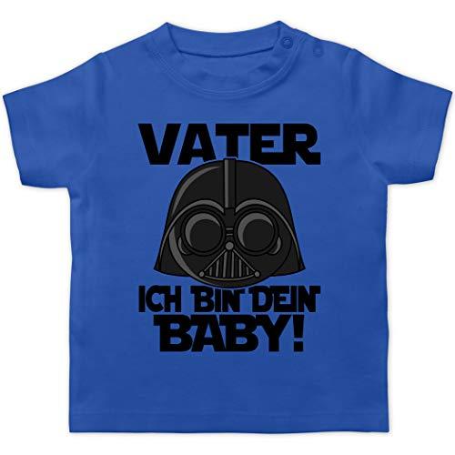 Vatertagsgeschenk Tochter & Sohn Baby - Vater ich Bin Dein Baby - schwarz - 3/6 Monate - Royalblau - T-Shirt - BZ02 - Baby T-Shirt Kurzarm
