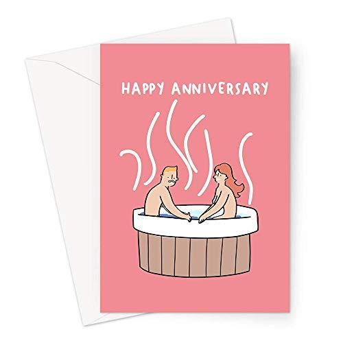 Grußkarte zum Jahrestag für Paare in einem Whirlpool, Nacktes Paar in einem Whirlpool, lustige Jubiläumskarte für Paare
