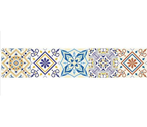 Pegatinas de azulejos Striscia di illustrazione di fiori in stile europeo Azulejos Pegatina para baños cocinaImpermeable autoadhesivo Borde decorativo 30X150cmX1pcs