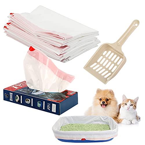 BIGKASI Sacchetti per lettiera per gatti da 20 pezzi con coulisse Sacchetti per lettiera antigraffio per cestini per lettiera con 1 paletta per lettiera per contenitori medi ed extra grandi 48 * 91 cm