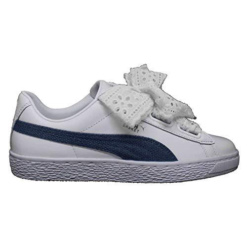 PUMA - Zapatillas bajas de baloncesto Heart Denim de color blanco para mujer. Blanco Size: 41 EU