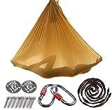 Brinny Yoga DIY Silk Pilates Premium Aerial Silks Equipment Aerial Yoga Tuch Aerial Silk elastische Yoga Hängematte mit Stoff Zubehör 5 Meter (Gold)