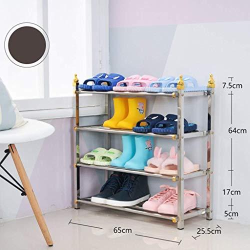AOLI Estante de zapatos duradero de metal, estante de zapatos de almacenamiento de entrada de 6 niveles Organizador de soporte de zapatos desmontable Estante de almacenamiento de usos múltiples-B 85X
