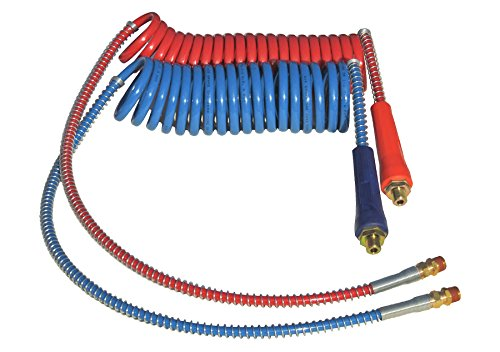 """COILED AIR SET LINE ASSEMBLY RED & BLUE TRUCK TRAILER SET WITH DURA-GRIPS, 15' LENGTH: 1 X 12"""" & 1 X 40"""" LEADS"""