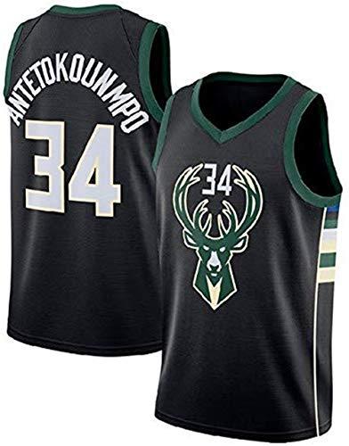 Formesy NBA Jersey Giannis Antetokounmpo Nr. 34 Basketball Trikot Milwaukee Bucks Jersey Basketball Weste Shirt Basketball Anzug für Herren Männer