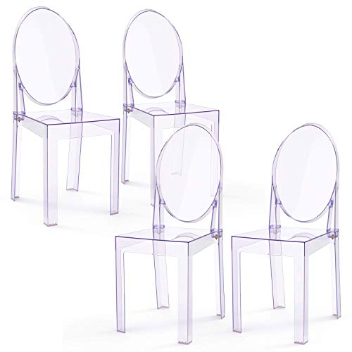 LAFII.T Silla de comedor transparente para cocina Sillas de maquillaje transparentes, plástico, desmontable y no apilable, juego de 4