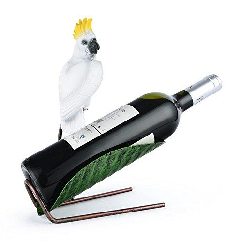 LL-COEUR Perroquet Porte-Bouteille Décoration Casier à Vin Original Support pour Bouteille (210 x 120 x 265 mm, Blanc)