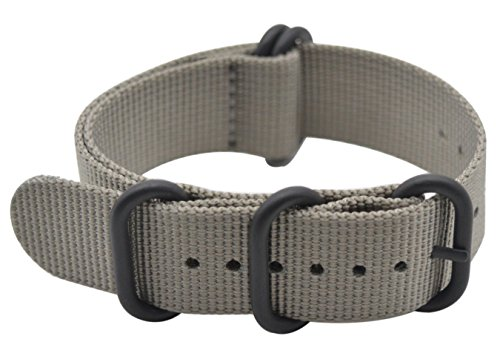 ArtStyle Watch Band with Ballistic Nylon Material Strap and High-End Black Buckle (Matte Finish Buckle) (Grey, 20mm)