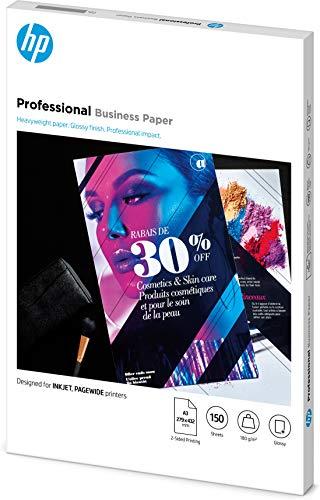 HP Professional Business Photo Paper, 7MV84A, 150 hojas de papel fotográfico brillante avanzado, compatible con impresoras de inyección de tinta y PageWide, A3, peso del material de impresión 180 g/m²