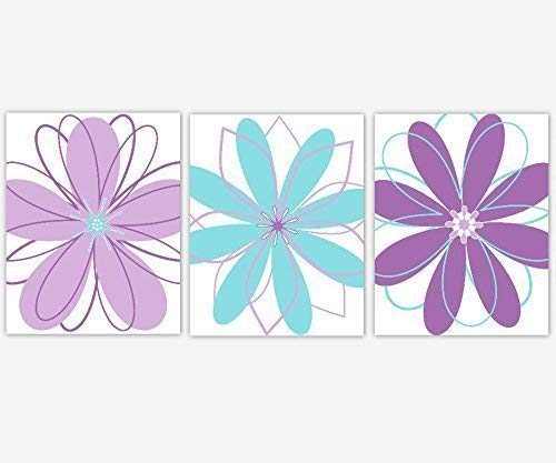 Girl Nursery Wall Art Modern Floral Purple Lavender Teal Aqua Blue Flower Bedroom Toddler Tween Decor 3 UNFRAMED PRINTS