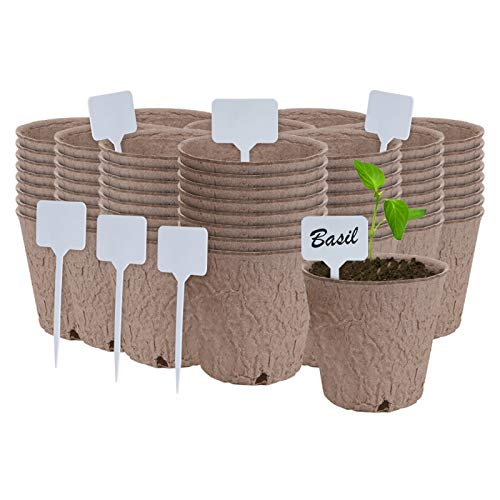 IGGRO 100 Pcs Peat Pots Bulk 3 inch Round Seedlings Pots with Drain Hole, Seedling Starters Kit with Label Markers and Ebook