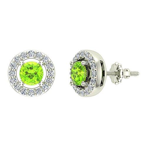 Glitz Design Niños Hombre Unisex Mujer oro 14 quilates (585) oro blanco 14 quilates (585) redonda Round Brilliant Green IJ Peridoto/Olivino