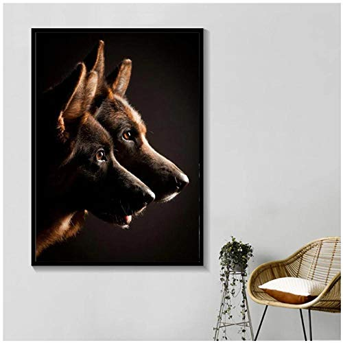 Zzdhewyz Black and White German Shepherd Dog Animal Canvas Painting Posters Prints Wall Art Picture for Living Room Home Decor 50x70 cm No Frame