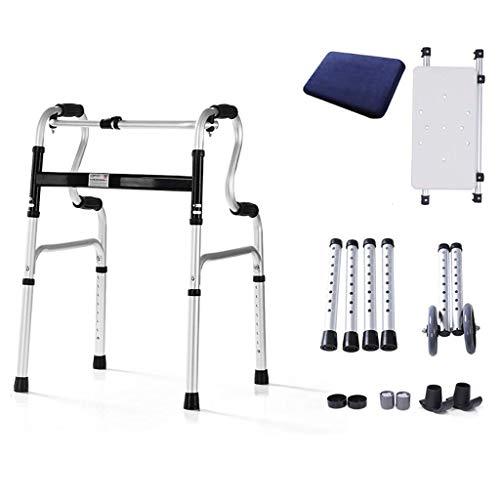 JALAL Leichte, Faltbare Gehhilfen aus Aluminium, Rollator, Gehhilfe mit Sitz und Rädern für ältere, schmale Gehhilfen
