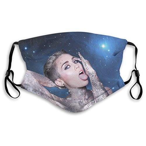 Lidanie Unisex Balaclava Miley Cyrus Face Mask Bandana Adjustable Earloop Mouth Face Cover for Adultwith 2 Filter Medium
