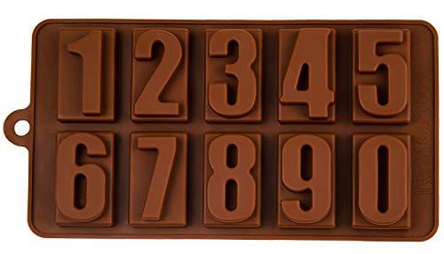 Silikonform mit Zahlen, Pralinenform, Backform, Zahlenform, Beton, Fondant, Gießform, Nummer, Number, Eiswürfelform, Kindergeburtstag, Alphabet, Kuchenverzierung, Farbe: Braun