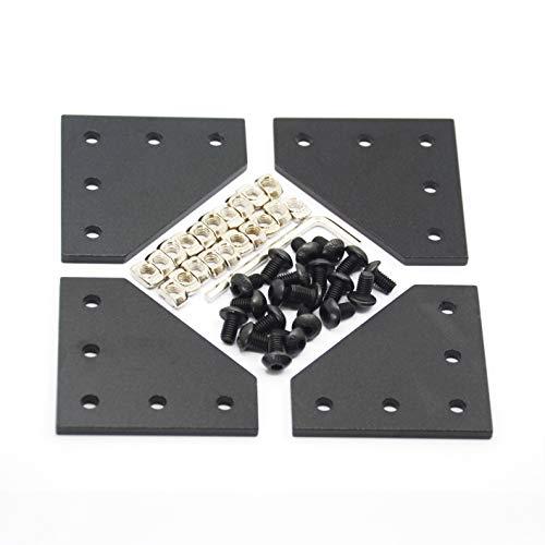 Befenybay - Set di 4 piastre angolari con 20 viti M5 x 8 mm e 20 dadi a T M5, 5 fori Tee fuori piastra di giunzione per la serie 2020 in alluminio profilo 3D telaio stampante (nero L-4 con vite)