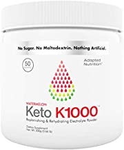Keto K1000 Electrolyte Powder   Boost Energy & Beat Leg Cramps   No Maltodextrin or Sugar   Watermelon, Lighter Stevia Taste   50 Servings