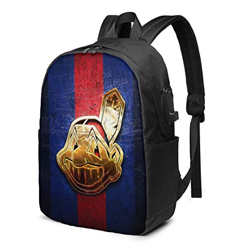 Cleveland Indians Waterproof Laptop Backpack Travel Backpacks Bookbag with USB Charging Port for Unisex Fits 17 in