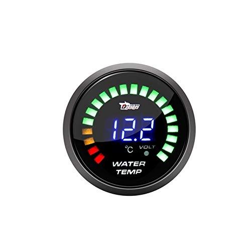 Auoeer 2 Pulgadas de 52mm de Coches Modificación del medidor tacómetro BLU-Ray Digital Display Shell Negro Indicador de presión, Manómetro de Aceite, voltímetro (Color : Water Temperature Gauge)
