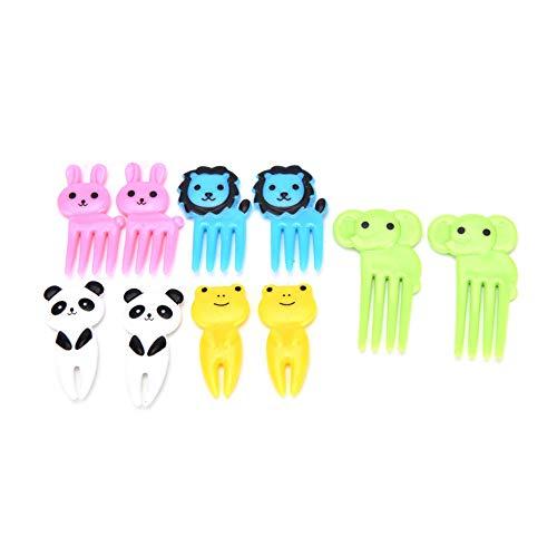 Sarplle Mini Tiere Zahnstocher 10 Stück Fruchtgabel Bento Kawaii Tierfutter Obst Picks Lunchbox Werkzeug für Kinder Party Obst, Gebäck, Desserts, Snacks