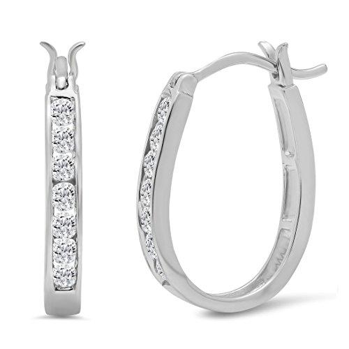 AGS Certified 1/2ct TW Diamond Hoop Earrings in 10K White Gold