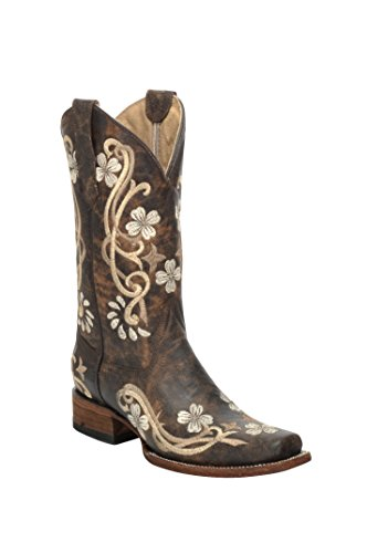 Corral Circle G Women's Chedron Floral Embroidered Cowgirl Boot Square Toe Brown 8.5 M US