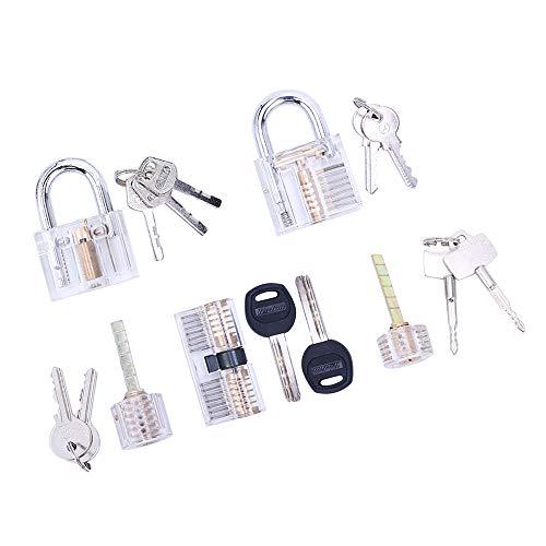 Loboo Idea 5-teiliges Übungsschloss-Set für Anfänger und Profi-Schlosser, transparentes Cutaway-Übungsvorhängeschloss / Schlosser-Übungsvorhängeschloss