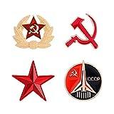 VALICLUD 4Pcs Comunista dello Smalto Pin Stella Distintivo Spilla Vintage Creativo Russia Sovietica Spilla per I Regali Unione Sovietica Spille