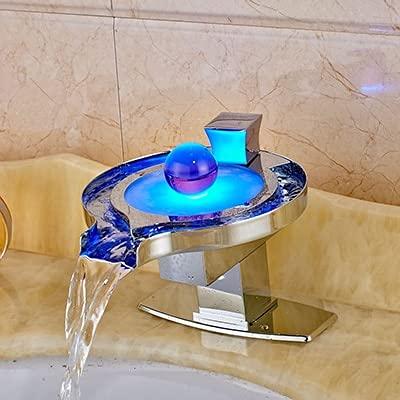 Grifo de lavabo de baño, grifo mezclador de cascada LED con placa de cubierta, grifo de lavabo de baño de agua fría y caliente montada en la cubierta