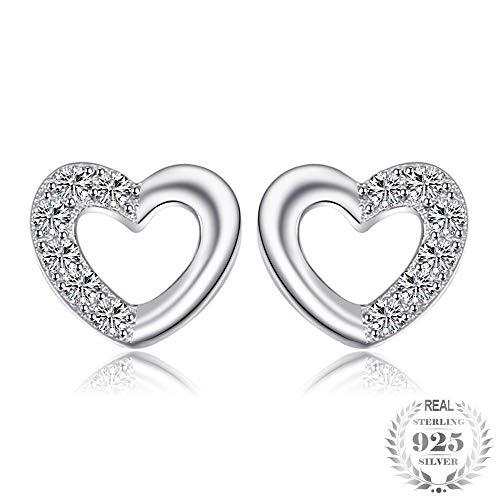 ZHWM - Pendientes de aro con forma de corazón y circonitas cúbicas redondas, para mujeres y niñas, plata de ley 925