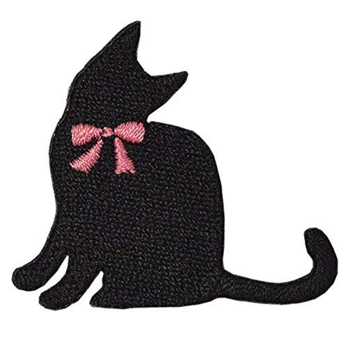 ネコ ワッペン 刺繍ワッペン アイロン接着 縦4cm×横4.5cm 猫 ねこ cat 黒猫 動物 アップリケ アイロンワッペン 両用ワッペン 手芸 かわいい ステッカー シール