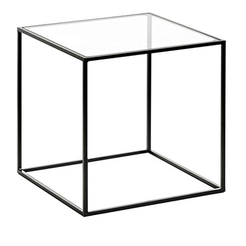 Axdwfd Table Basse, Salon En Fer Forgé Petite Table Simple En Verre Trempé Simple Mini Table Carrée Petit Appartement Table D'appoint De Canapé 16 × 16 × 17 Pouces.